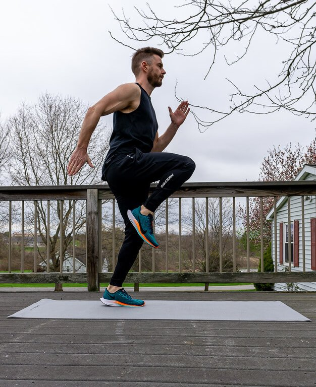 Mark high knee sprinting circuit workouts perfect for traveling