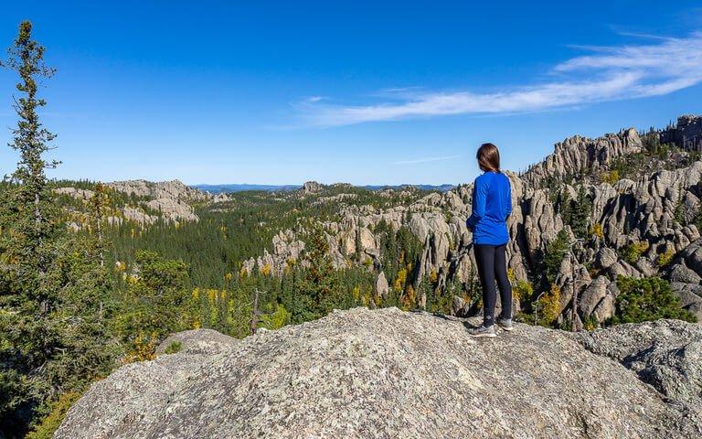Kristen half way up Black Elk Peak hike awesome viewpoint