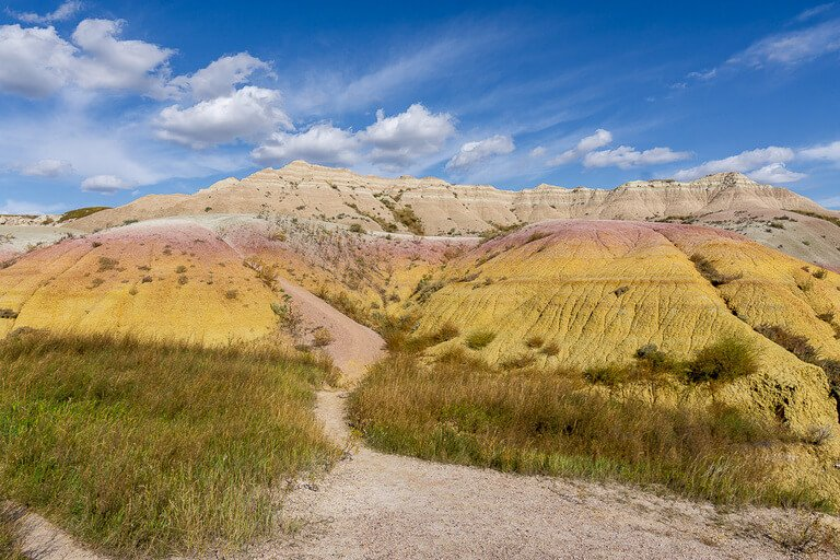 Beautiful colors at yellow mounds overlook badlands national park