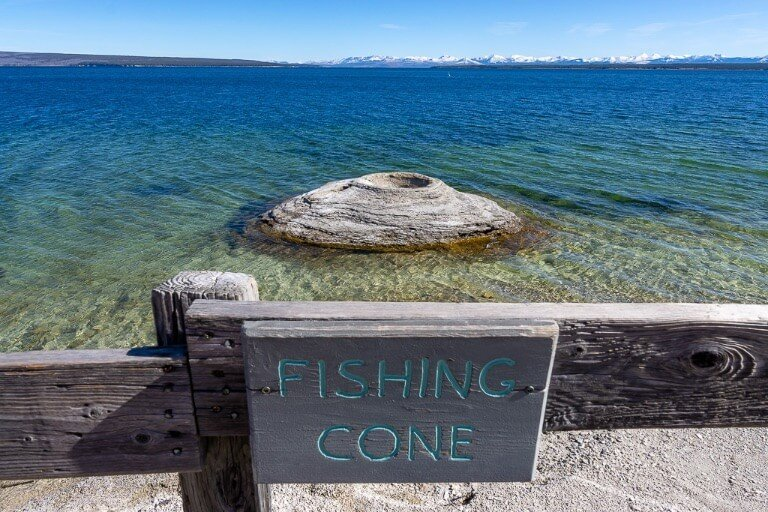 Fishing cone geyser in Lake Yellowstone Wyoming