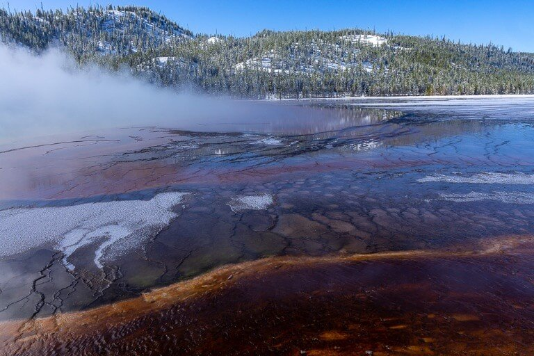 Grand Prismatic Spring amazing colors and steam