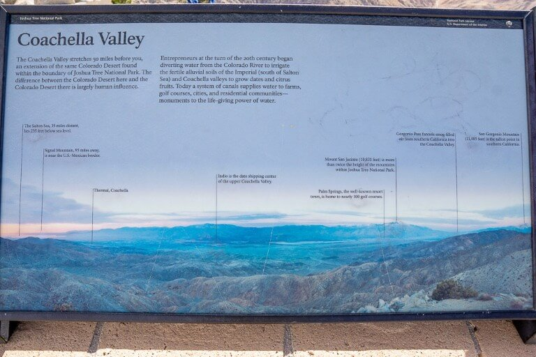 Information board at the top of keys view road showing what you can see across the valley