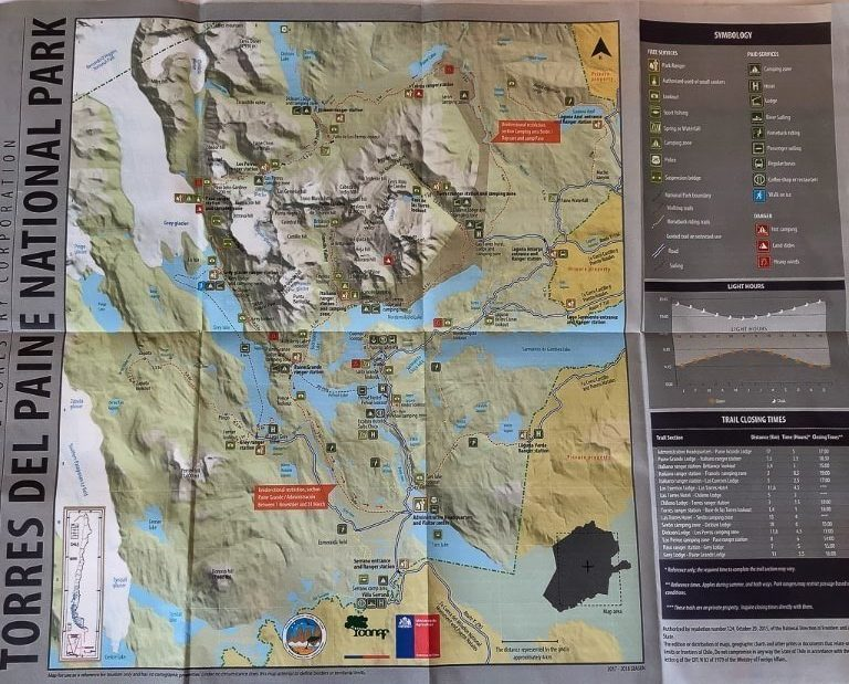 Map of Torres del paine national park in Chile hiking tips for beginners always take a map