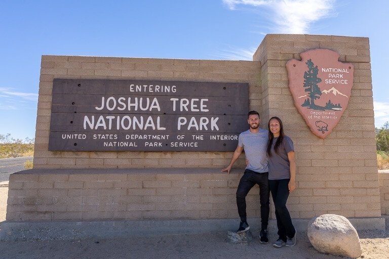 Mark and Kristen Where Are Those Morgans at the Joshua Tree national park entrance sign on