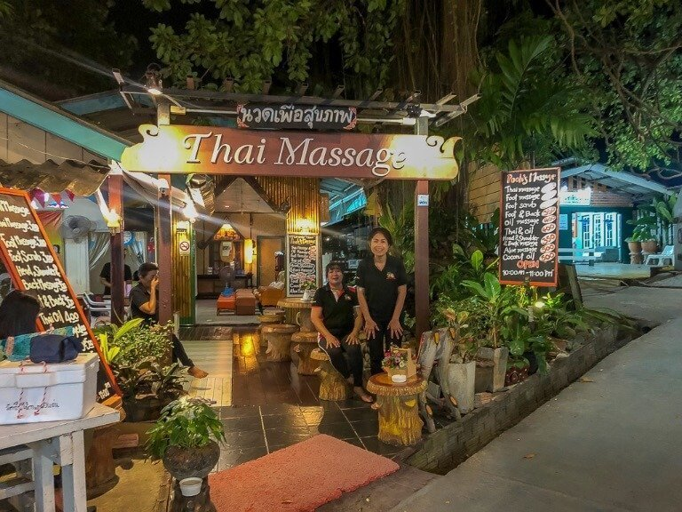 Thai massage parlor on walking street Koh Lipe excellent value massages