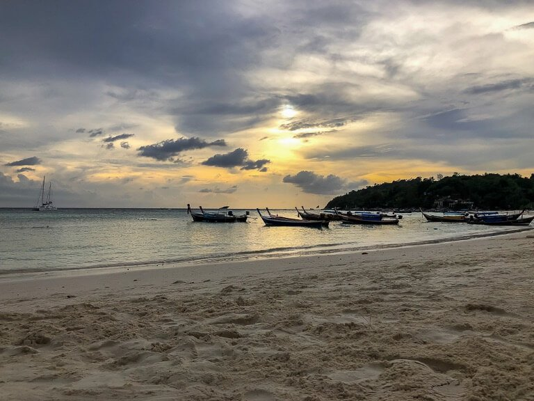Pattaya Beach on Koh Lipe island white powdery sand just before sunset gorgeous sky