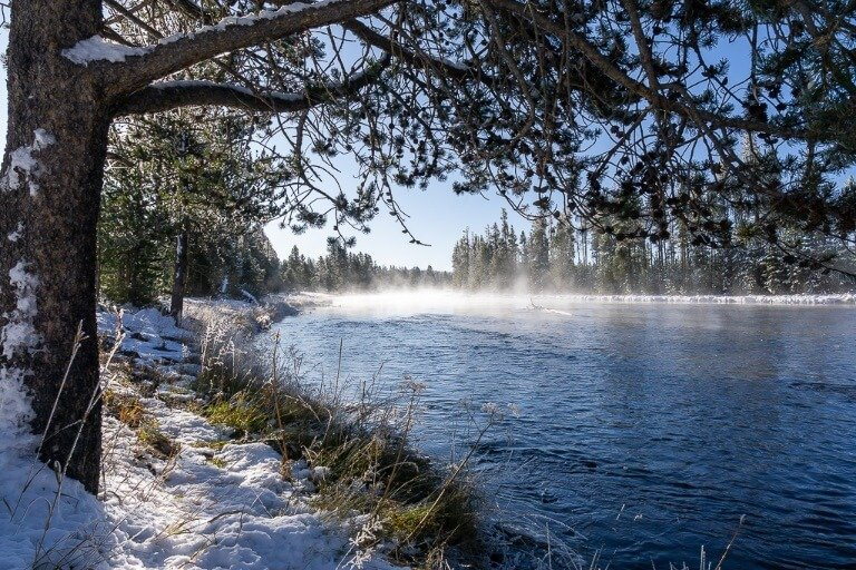 Steaming river at yellowstone national park