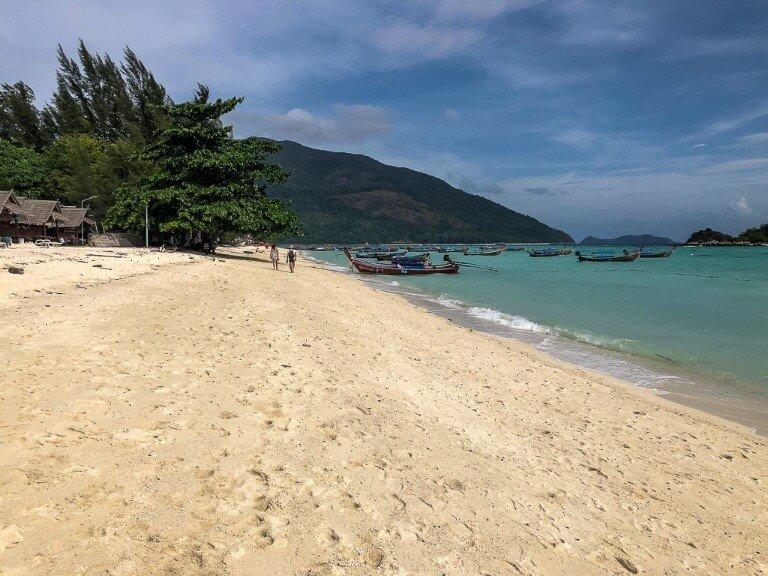 Sunrise beach Koh Lipe golden sand steep incline to water