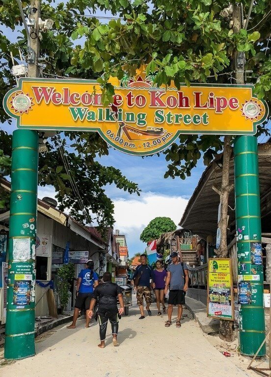 Walking street entrance sign on Pattaya Beach Koh Lipe very popular and busy street