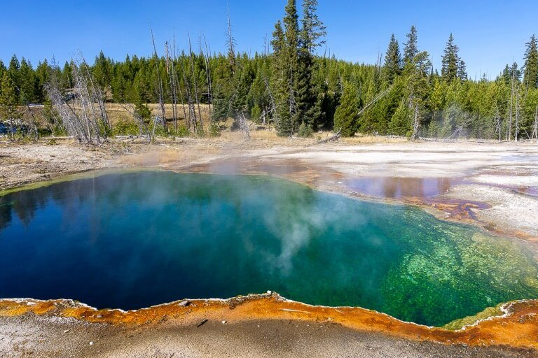 West thumb geyser basin colorful hot spring