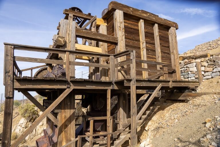 Lost horse mine old wooden mill unstable gated perimeter one day at Joshua Tree national park