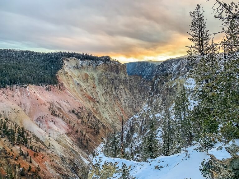 Yellowstone Falls at sunrise looking back into the sun