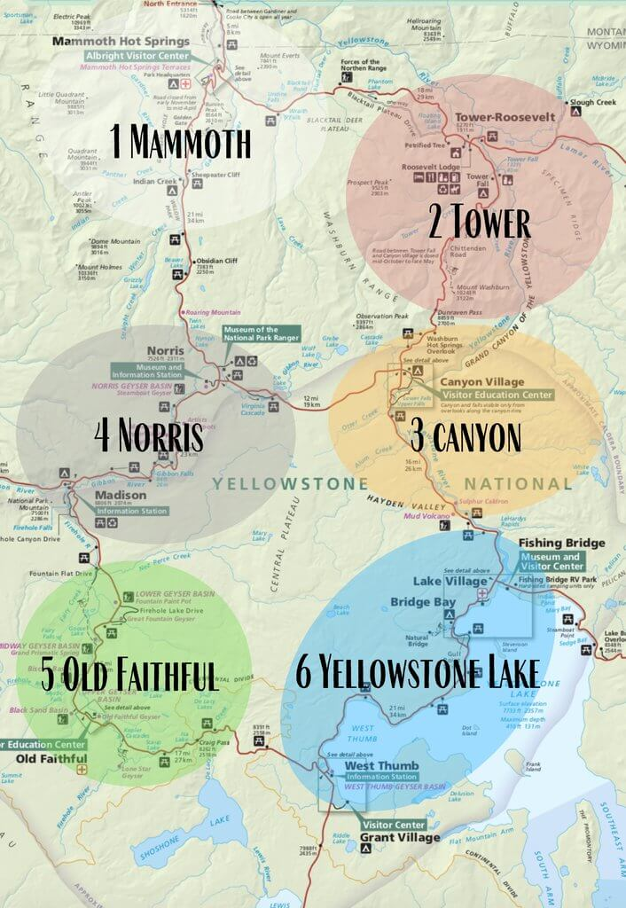 Regions of Yellowstone broken down in Mammoth, Tower, Canyon, Norris, Old Faithful and Yellowstone Lake for 4 days itinerary