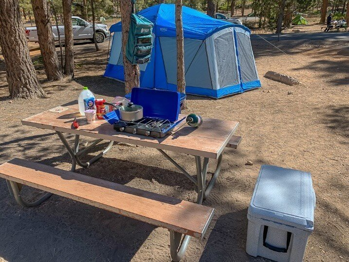 Sunset campground Bryce Canyon toolbox tent and cooking equipment road trip essentials