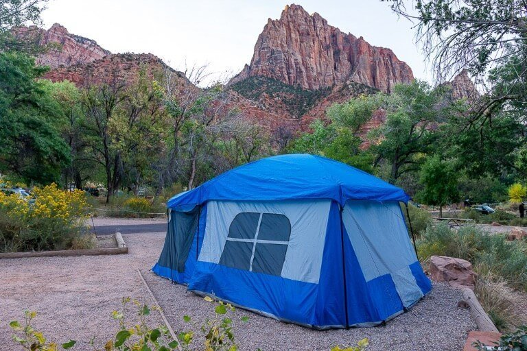 Camping Watchman campground at Zion national park on the way to Bryce canyon 3 day Utah road trip itinerary
