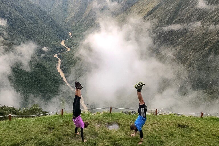 Mark Kristen Handstands Machu Picchu