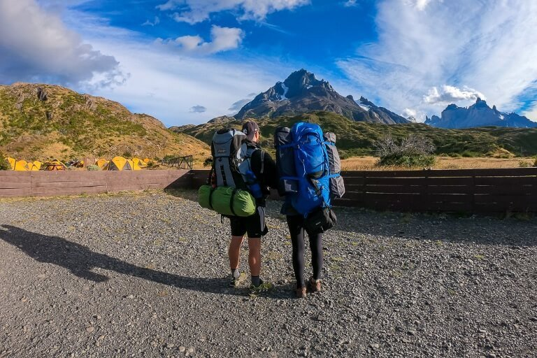 Mark Kristen hiking Patagonia w trek circuit Torres del Paine Chile