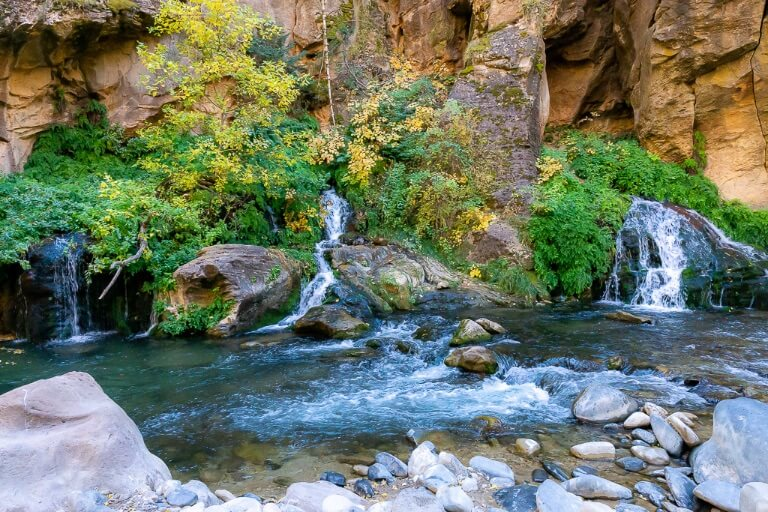 Three small waterfalls Big Springs marking the end of permitted hiking trail the Narrows at Zion National Park
