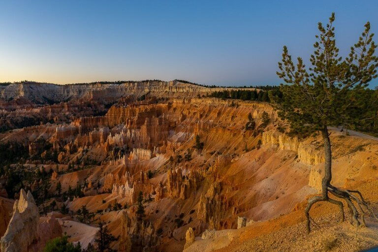 Twilight over Utah national park amphitheater before sunrise
