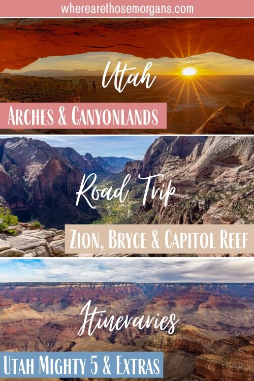 3 epic Utah Road trip itineraries arches Canyonlands Zion Bryce Canyon Capitol Reef mighty 5 horseshoe bend page Arizona grand canyon north rim