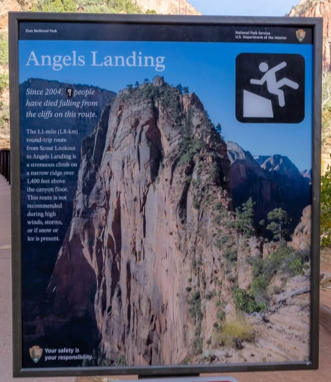 Angels Landing hiking trail comes with a warning sign about the dangers of summiting