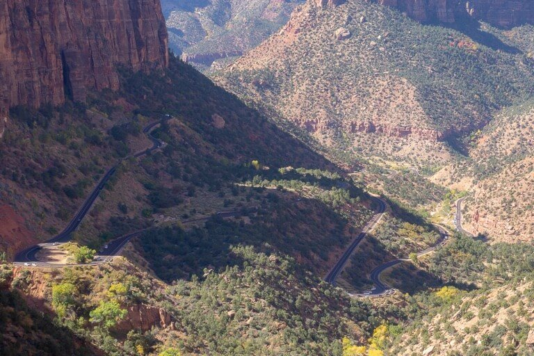 Zion Canyon winding switchback roads cutting into valley