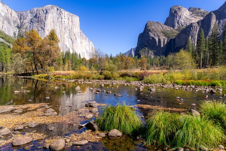 Spectacular view of Yosemite valley California national park El Capitan and river view