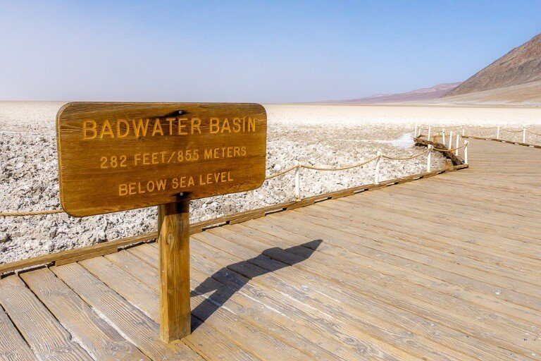 Badwater Basin Sign lowest point in North America