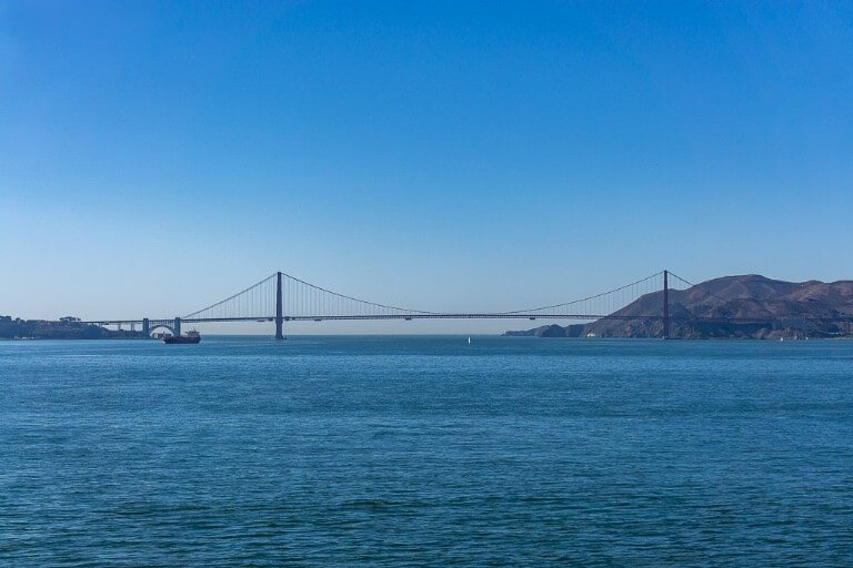 One of the best view points of golden gate bridge is from Alcatraz Island but it is a little distant