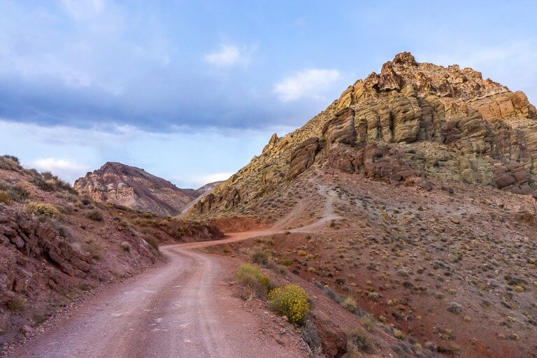 Colorful roads and land on Titus Canyon drive in Death Valley California