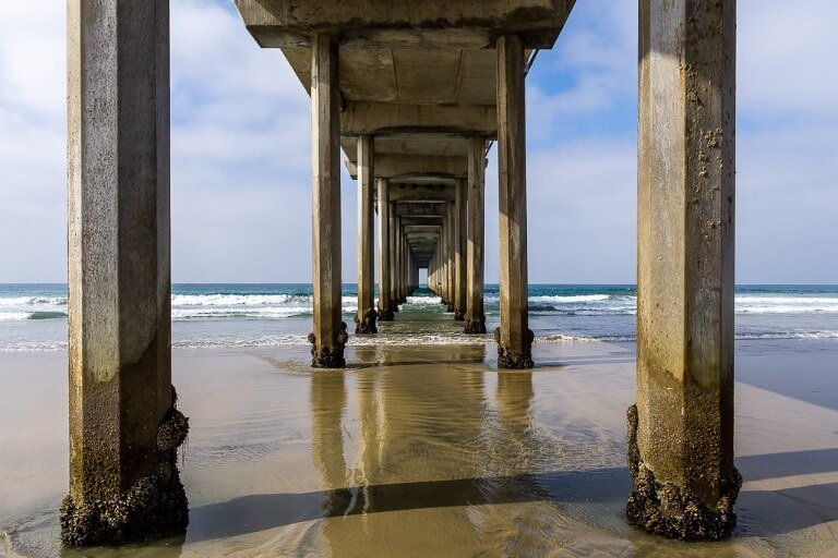 Ellen Browning Scripps Pier amazing perspective for photography down the tunnel beneath the pier San Diego itinerary