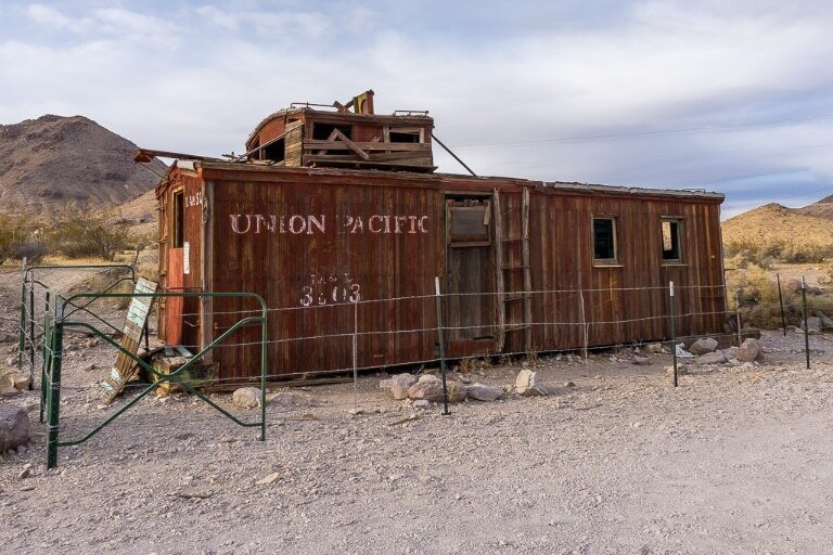Old Union Pacific container in rhyolite ghost town