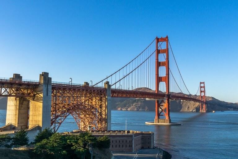 Golden gate bridge from east battery at sunset