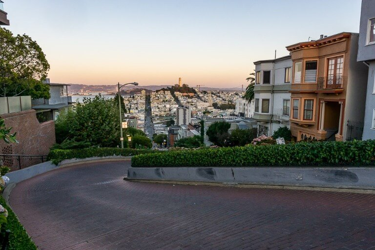Lombard street from the top looking down at the first bend of 8 in San Francisco