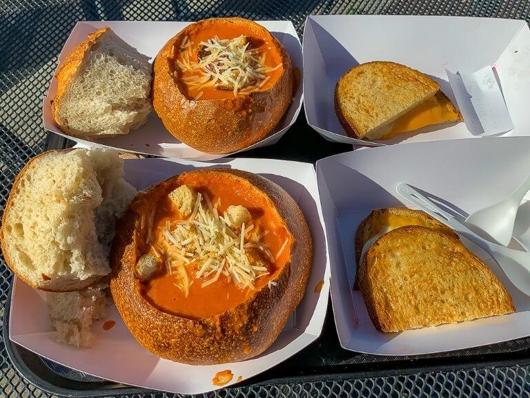 Tomato soup in sourdough bread from boudin San Francisco fisherman's wharf