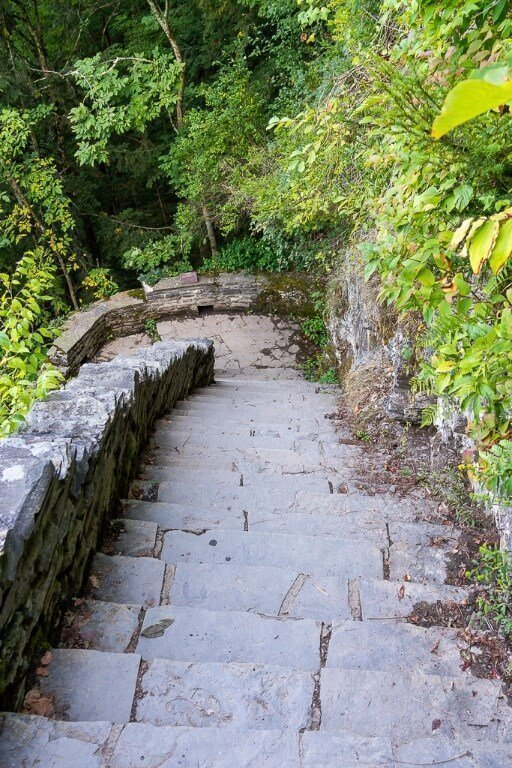 Steep steps section of Rim trail at Robert H Treman state park Ithaca ny finger lakes