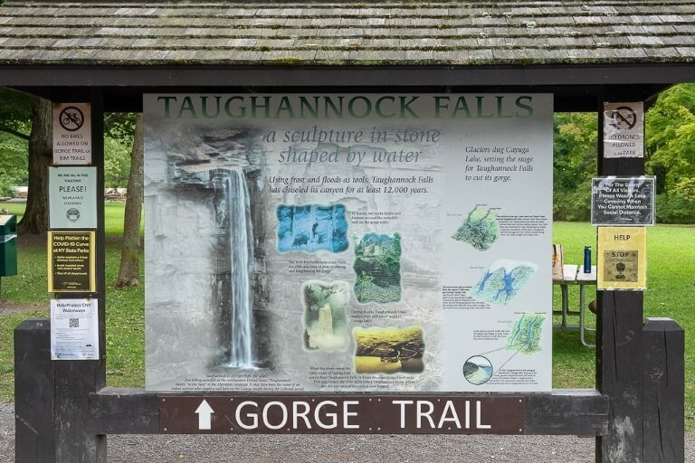 Gorge trail information board state park Ithaca New York