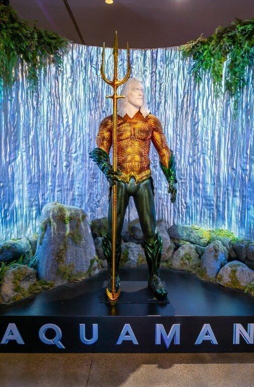 Aquaman armored suit in exhibit at movie studio in Los Angeles