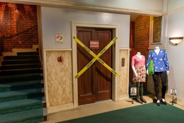 Big Bang Theory staircase and elevator studio prop set in Hollywood