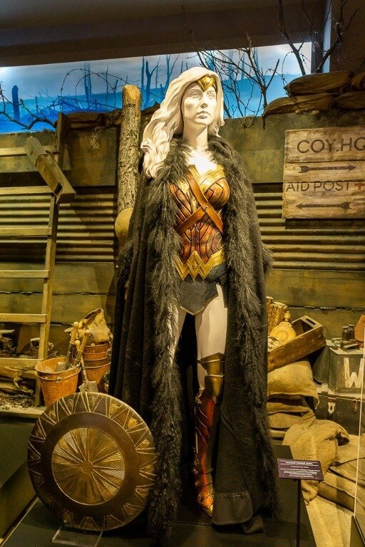 Costume of wonderwoman character on display at movie studio