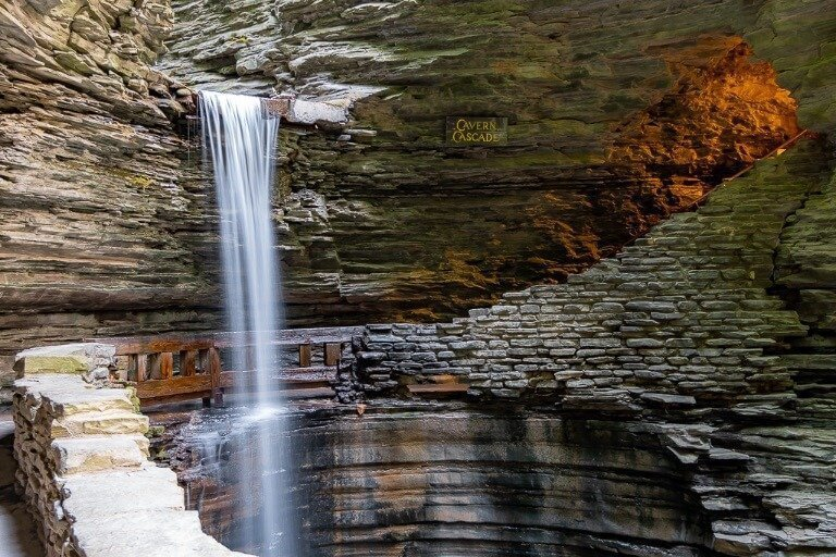 Cavern Cascade and Spiral Tunnel Stunning Gorge trail Watkins Glen State park ny