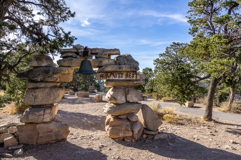 Hermit's Rest arched stones and bell in Arizona