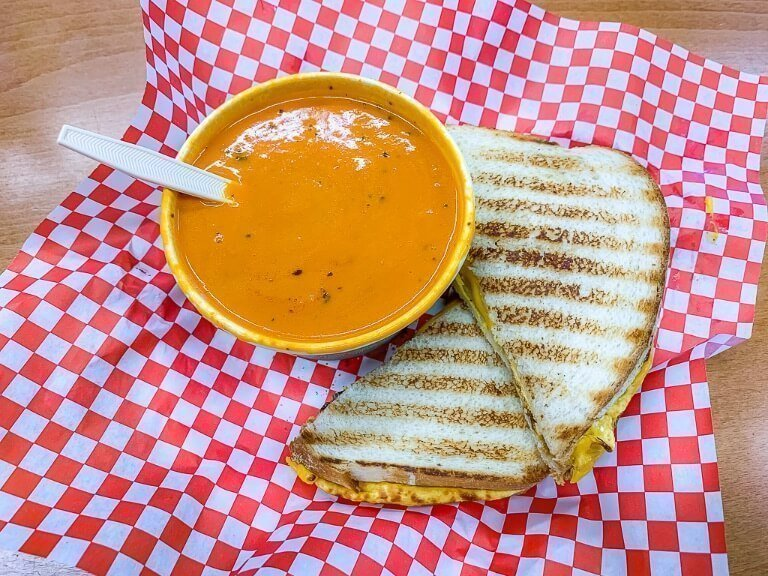 Soup and sandwich perfect lunch near Desert View Watchtower Arizona
