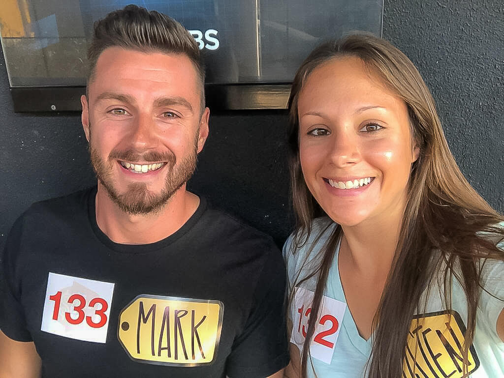 Mark and Kristen Morgan waiting in line to go in the audience of Price is Right gameshow things to do in Los Angeles California