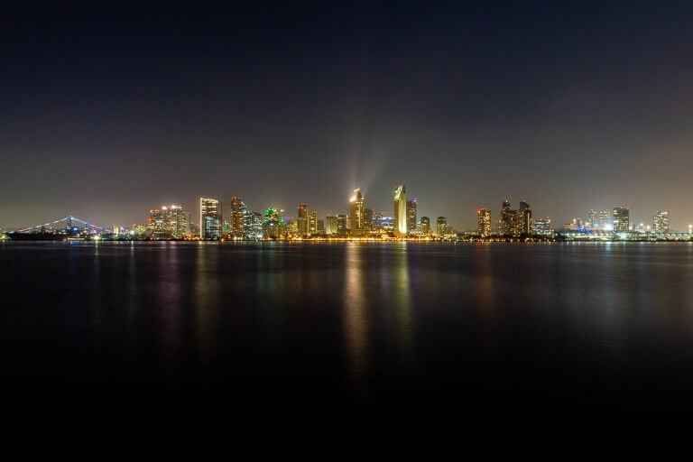San Diego night skyline from Coronado island looking amazing and still San Diego is the end of California's Pacific Coast Highway and the perfect place to complete the epic road trip