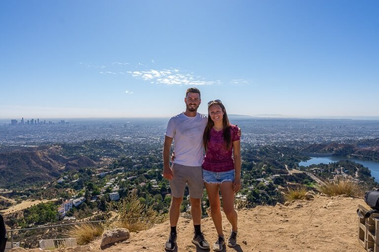 Mark and Kristen very sweaty at the top of Mt Lee hiking to Hollywood sign in 90 degrees LA heat