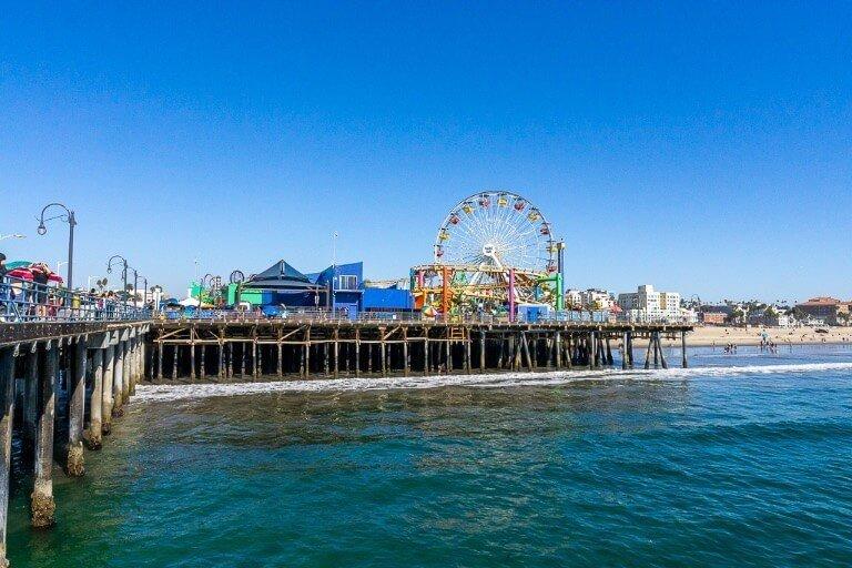 Santa Monica Pier with clear blue sky in LA