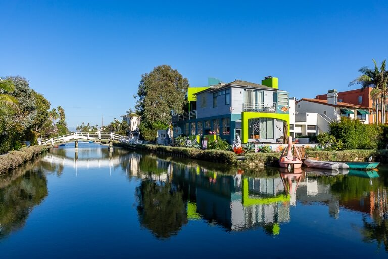 Venice Beach in Los Angeles California has little known canals with houses reflecting just a few minutes walk from the beach
