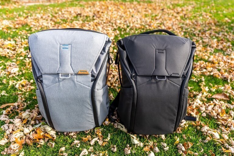 Black and Ash colored Peak Design Everyday Backpack on grass with post fall brown leaves awesome travel hiking and camera backpack